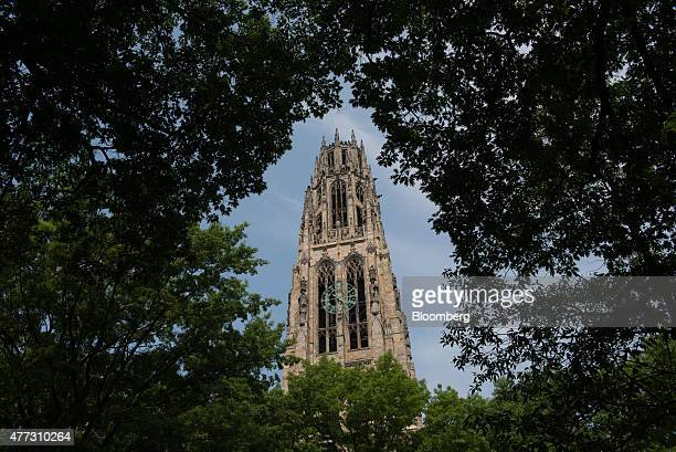 Harkness Tower stands on the Yale University campus in New Haven Connecticut US on Friday June 12 2015 Yale University is an educational institute...