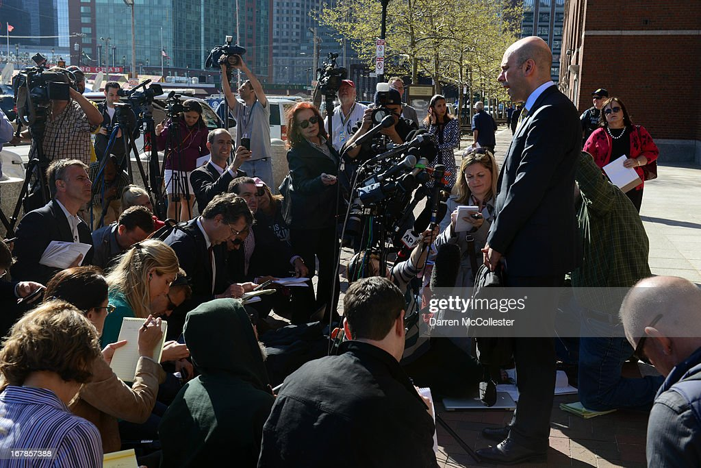 Harlan J. Protass, attorney for Azamat Tazhayakov, who is being held on aiding and abetting charges in connection with the Boston Marathon bombing suspects, speaks to reporters outside the John Joseph Moakley Federal Courthouse May 1, 2013 in Boston, Massachusetts. Authorities arrested three men today in connection with the Boston Marathon bombings, who are alleged to have helped the Tsarnaev brothers after the bombings. Two men, Azamat Tazhayakov and Dias Kadyrbayev, came to America to study at the University of Massachusetts at Dartmouth, where Dzhokhar Tsarnaev was also ernolled.
