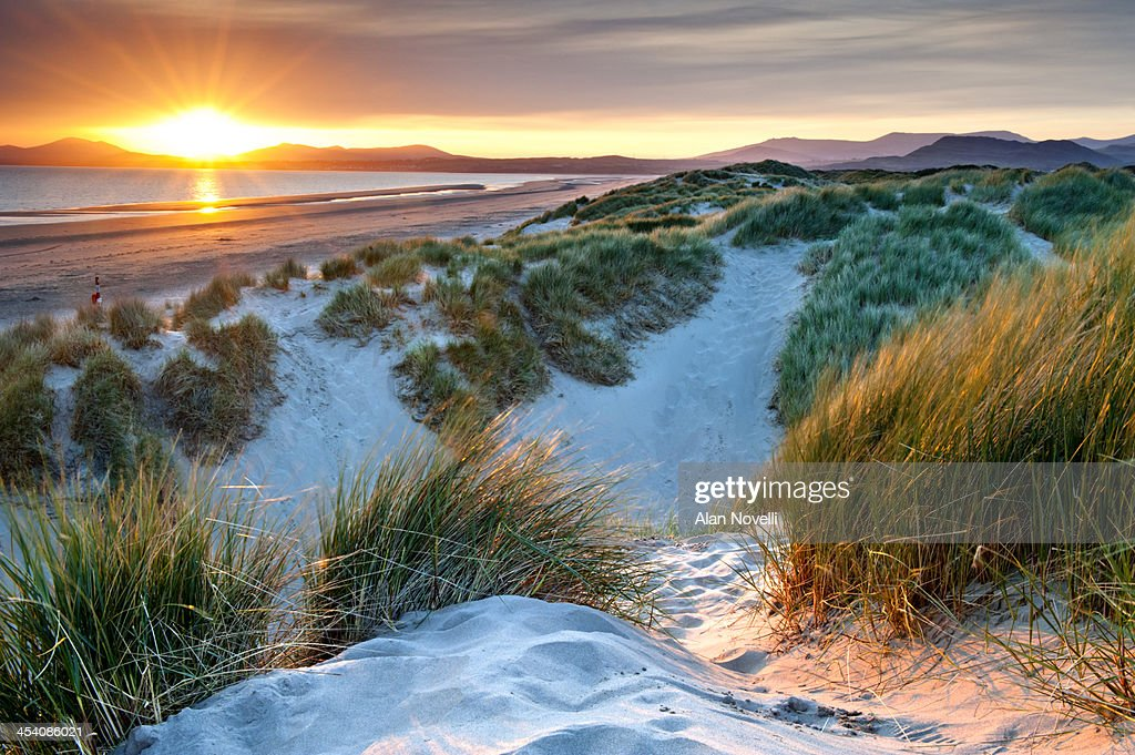 Harlech Sand Dunes and Tremadog Bay at Sunset : Stock Photo
