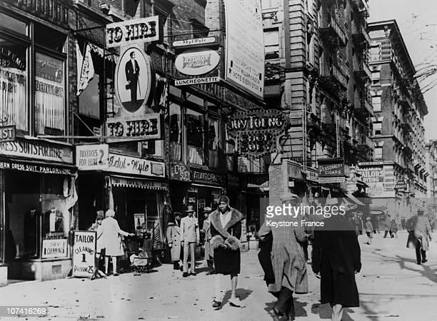 Harlem 7Th Avenue In New York On December 1932