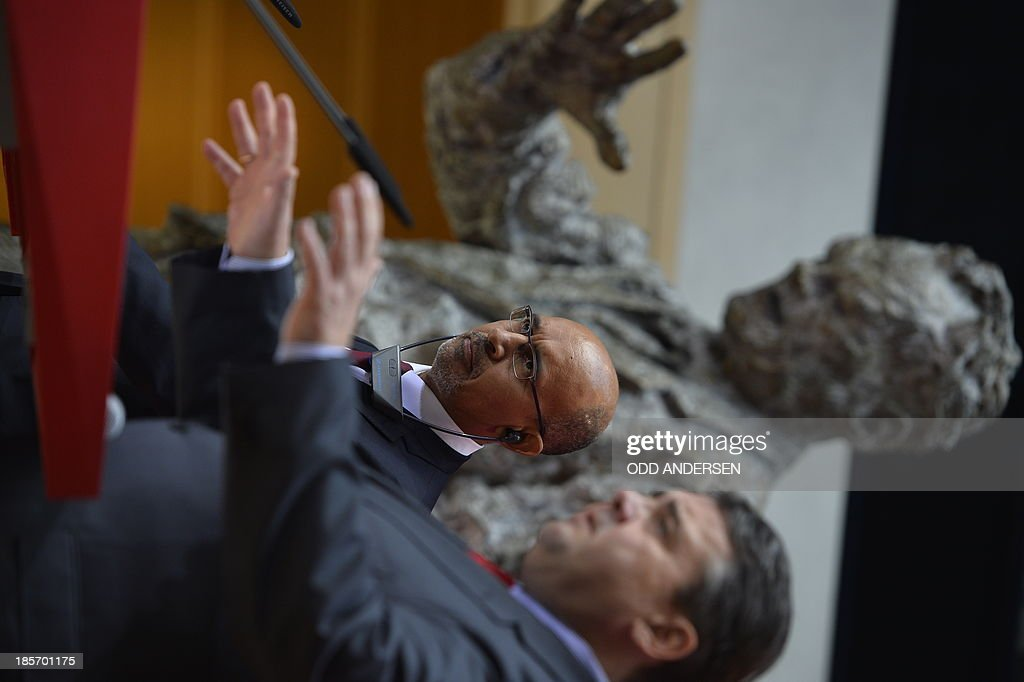 Harlem Desir, First Secretary of the French Socialist Party (PS) (L) and his counterpart Sigmar Gabriel (R) of the German Social Democratic Party (SPD) address a joint press conference on October 24, 2013 in Berlin, following talks on a further cooperation regarding the 2014 European elections. AFP PHOTO / ODD ANDERSEN