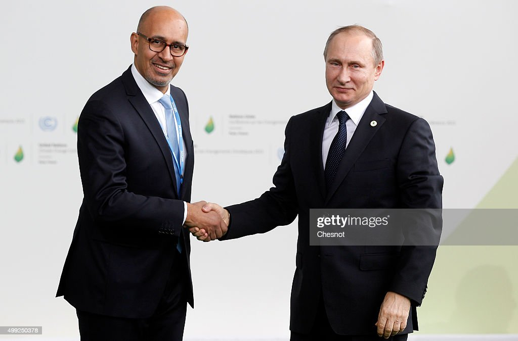 Harlem Desir, French Minister of State for European affairs (L) welcomes Russian President <a gi-track='captionPersonalityLinkClicked' href=/galleries/search?phrase=Vladimir+Putin&family=editorial&specificpeople=154896 ng-click='$event.stopPropagation()'>Vladimir Putin</a> as he arrives for the COP21 United Nations Climate Change Conference on November 30, 2015 in Le Bourget, France. More than 150 world leaders are meeting for the 21st Session of the Conference of the Parties to the United Nations Framework Convention on Climate Change (COP21/CMP11), from November 30 to December 11, 2015.