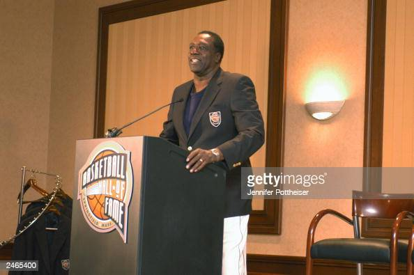 Harlem Globetrotter great and 2003 Basketball Hall of Fame inductee Meadowlark Lemon speaks to the media at a press conference for the 2003 Hall of...