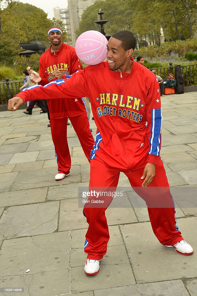 Harlem Globetrotters Cheese Chisholm attends The Harlem Globetrotters Dribble Across The Brooklyn Bridge To Celebrate Their Upcoming Game At The Barclays Center on October 3, 2012 in New York City.