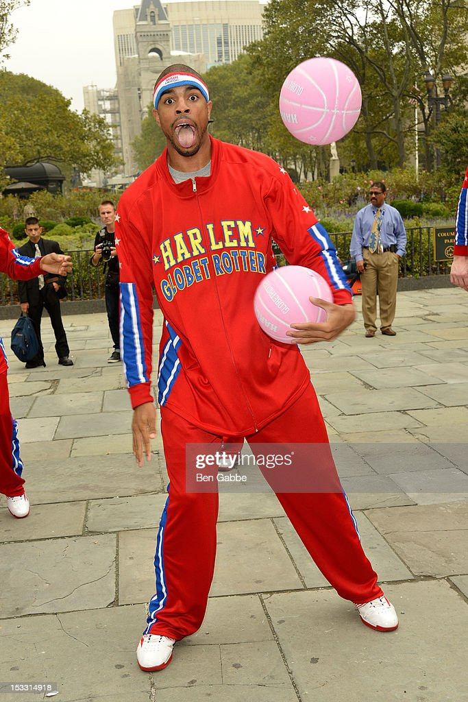 Harlem Globetrotters Hammer Harrison attends The Harlem Globetrotters Dribble Across The Brooklyn Bridge To Celebrate Their Upcoming Game At The Barclays Center on October 3, 2012 in New York City.