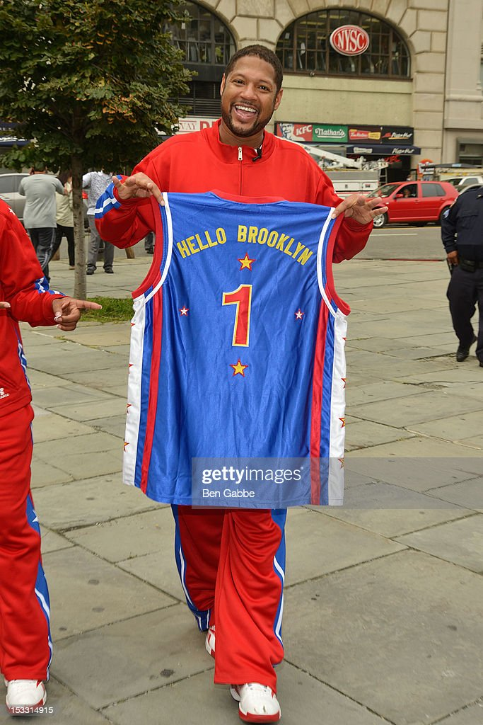 Harlem Globetrotters Handles Franklin attends The Harlem Globetrotters Dribble Across The Brooklyn Bridge To Celebrate Their Upcoming Game At The Barclays Center on October 3, 2012 in New York City.