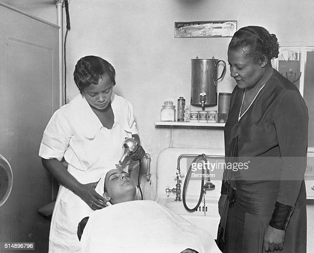 A'Lelia Walker is shown supervising a facial in one of Madam CJ Walker's many beauty parlors