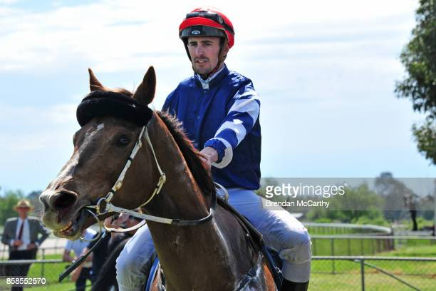 Harlem Star ridden by John Robertson returns to the mounting yard after winning the Cohuna IGA BM52 Handicap at Gunbower Racecourse on October 07...