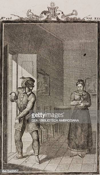Harlequin leaving Camilla engraving by Antonio Viviani from a drawing by G Steneri from L'amore paterno Act I Scene 3 Comedies Volume 41 by Carlo...