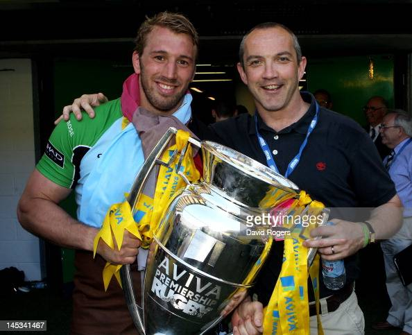 Harlequins captain Chris Robshaw and Conor O'Shea the Harlequins Director of Rugby pose with the trophy following his team's victory during the Aviva...