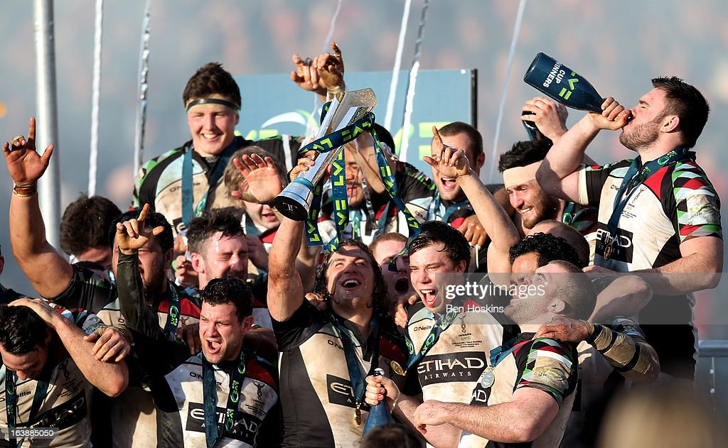 Harlequins captain Luke Wallace lifts the trophy following his team's victory during the LV= Cup Final between Sale Sharks and Harlequins at Sixways Stadium on March 17, 2013 in Worcester, England.