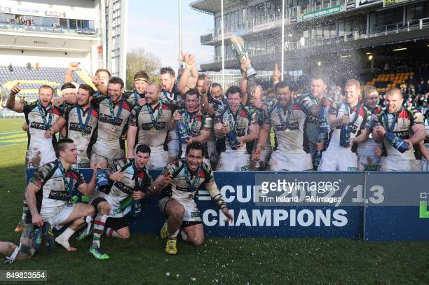 Harlequins' celebrate following their victory over Sale Sharks in the LV=Cup Final at Sixways Stadium Worcester