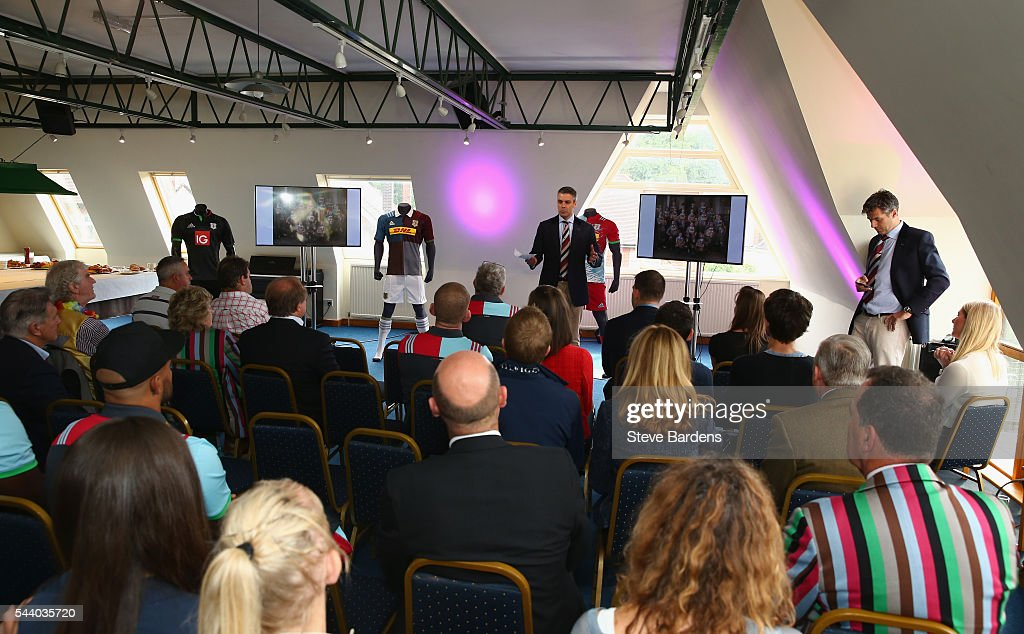 Harlequins CEO David Ellis presents the new 2016/17 kit during the Harlequins 150th Season Launch at Hampstead Cricket Club on July 1, 2016 in London, England.