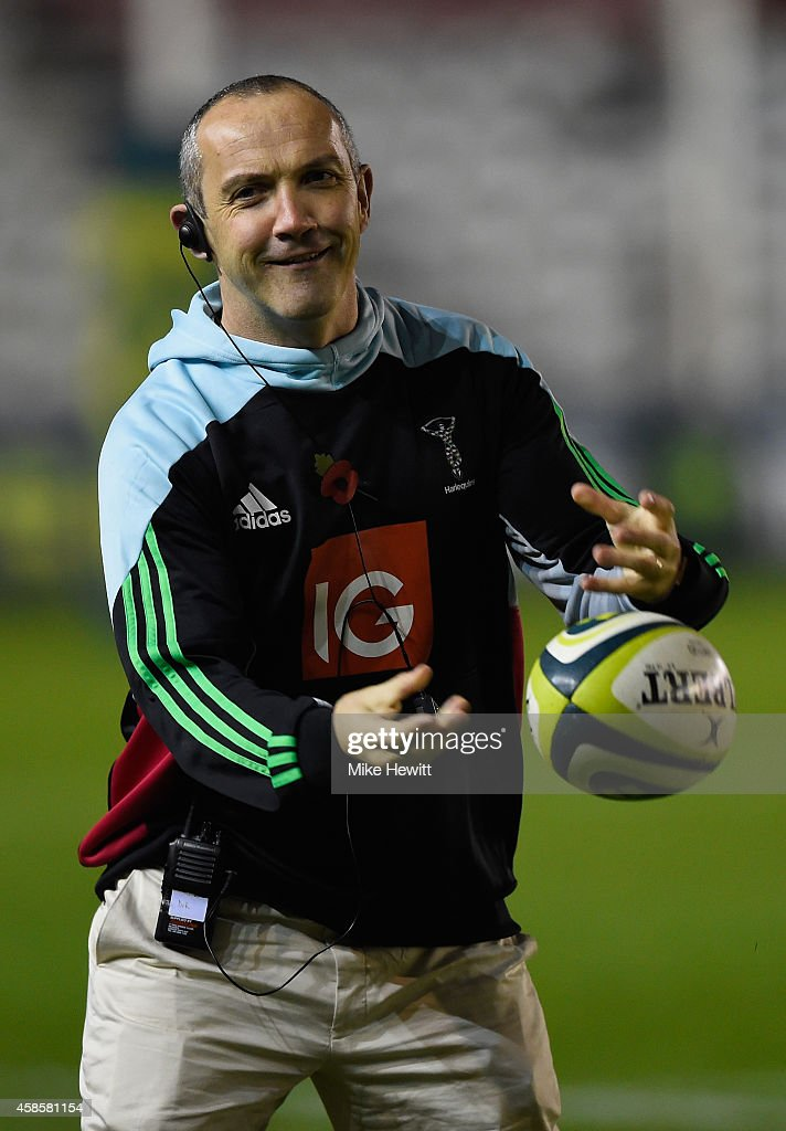Harlequins coach Conor O'Shea joins in the pre match warm up ahead of the LV= Cup match between Harlequins and Newport Gwent Dragons at Twickenham...