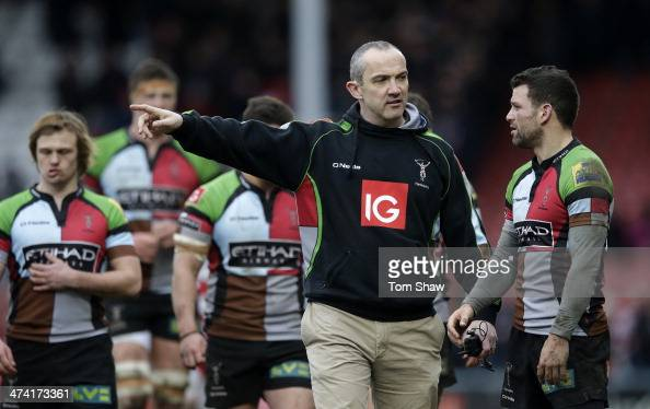 Harlequins Coach Conor O'Shea talks to his team at the end of the match during the Aviva Premiership match between Gloucester and Harlequins at the...