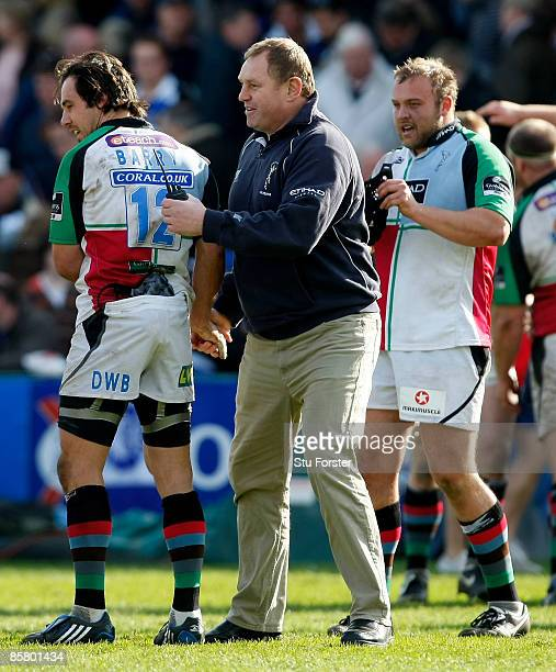 Harlequins coach Dean Richards congratulates his players after the Guinness Premiership match between Bath and Harlequins at the Recreation Ground on...