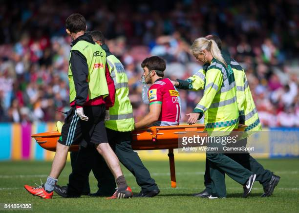 Harlequins' Demetri Catrakilis leaves the field during the Aviva Premiership match between Harlequins and Gloucester Rugby at Twickenham Stoop on...