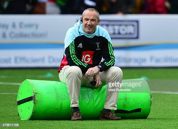 Harlequins Director of Rugby Conor O'Shea during Aviva Premiership match between Newcastle Falcons and Harlequins at Kingston Park on May 16 2015 in...