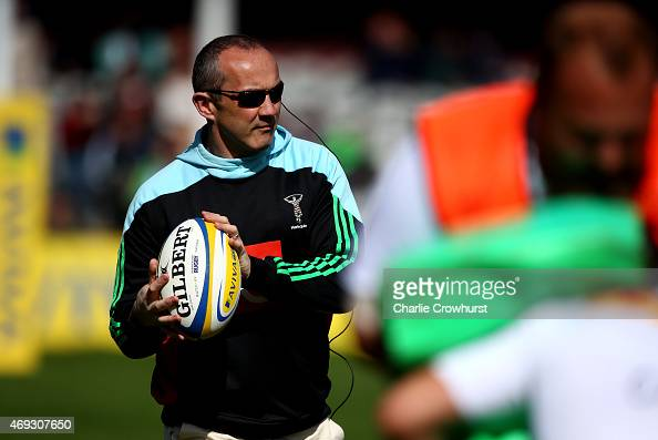 Harlequins Director of Rugby Conor O'Shea during the Aviva Premiership match between Harlequinss and Gloucester at Twickenham Stoop on April 11 2015...