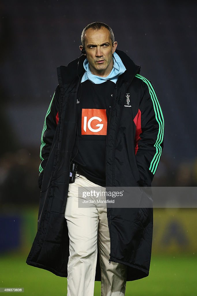 Harlequins Director of Rugby Conor O'Shea looks on ahead of the Aviva Premiership match between Harlequins and Sale Sharks at Twickenham Stoop on...