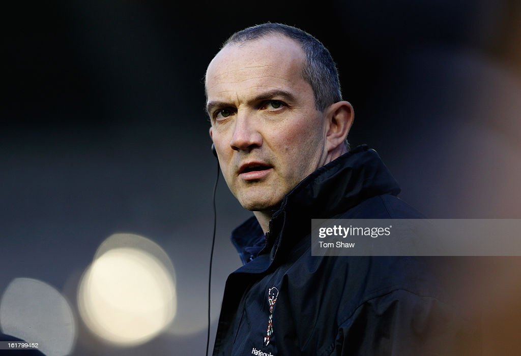 Harlequins director of rugby <a gi-track='captionPersonalityLinkClicked' href=/galleries/search?phrase=Conor+O%27Shea&family=editorial&specificpeople=2183490 ng-click='$event.stopPropagation()'>Conor O'Shea</a> looks on during the Aviva Premiership match between Harlequins and Leicester Tigers at Twickenham Stoop on February 16, 2013 in London, England.