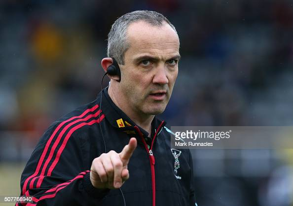 Harlequins Director of Rugby Conor O'Shea looks on during the Aviva Premiership match between Newcastle Falcons and Harlequins on January 31 2016 in...