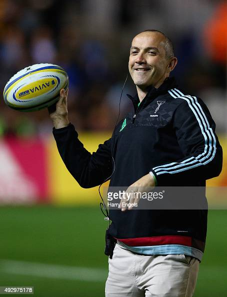 Harlequins Director of Rugby Conor O'Shea looks on during the warm up ahead of the Aviva Premiership match between Harlequins and Wasps at Twickenham...
