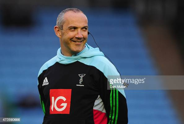 Harlequins Director of Rugby Conor O'Shea looks on prior to the Aviva Premiership match between Harlequins and Bath Rugby at Twickenham Stoop on May...