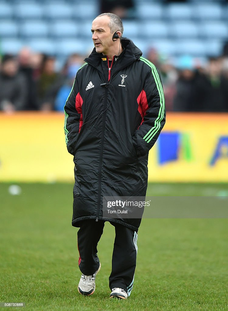 Harlequins' Director of Rugby <a gi-track='captionPersonalityLinkClicked' href=/galleries/search?phrase=Conor+O%27Shea&family=editorial&specificpeople=2183490 ng-click='$event.stopPropagation()'>Conor O'Shea</a> looks on prior to the Aviva Premiership match between Harlequins and Northampton Saints at Twickenham Stoop on February 6, 2016 in London, England. (Photo by Tom Dulat/Getty Images).