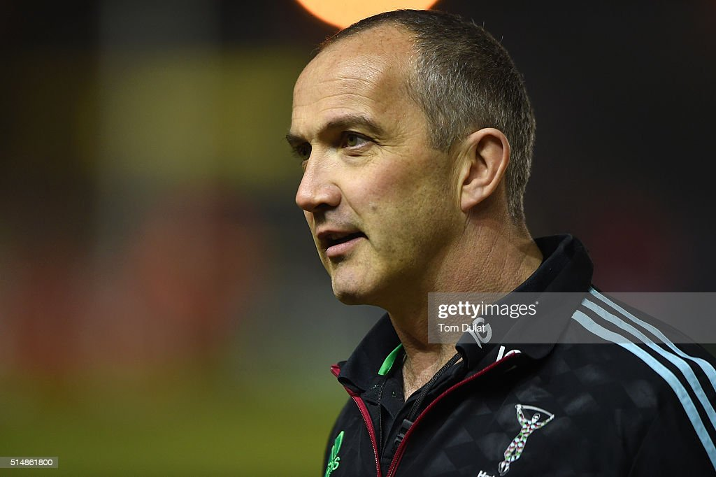 Harlequins Director of Rugby Conor O'Shea looks on prior to the Aviva Premiership match between Harlequins and Bath at Twickenham Stoop on March 11...