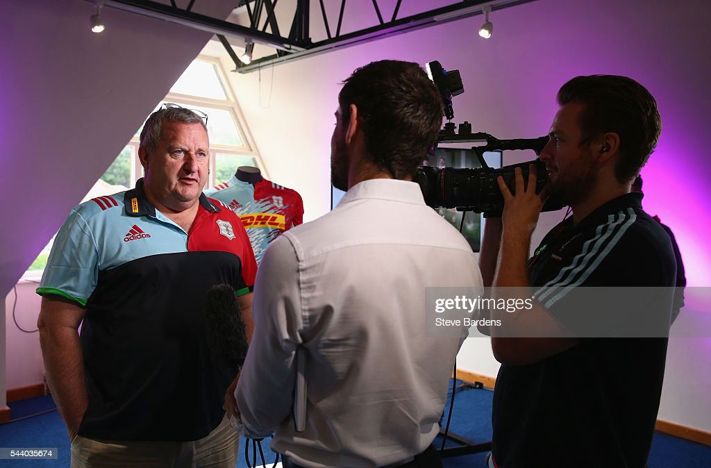 Harlequins Director of Rugby, John Kingston talks to the media during the Harlequins 150th Season Launch at Hampstead Cricket Club on July 1, 2016 in London, England.