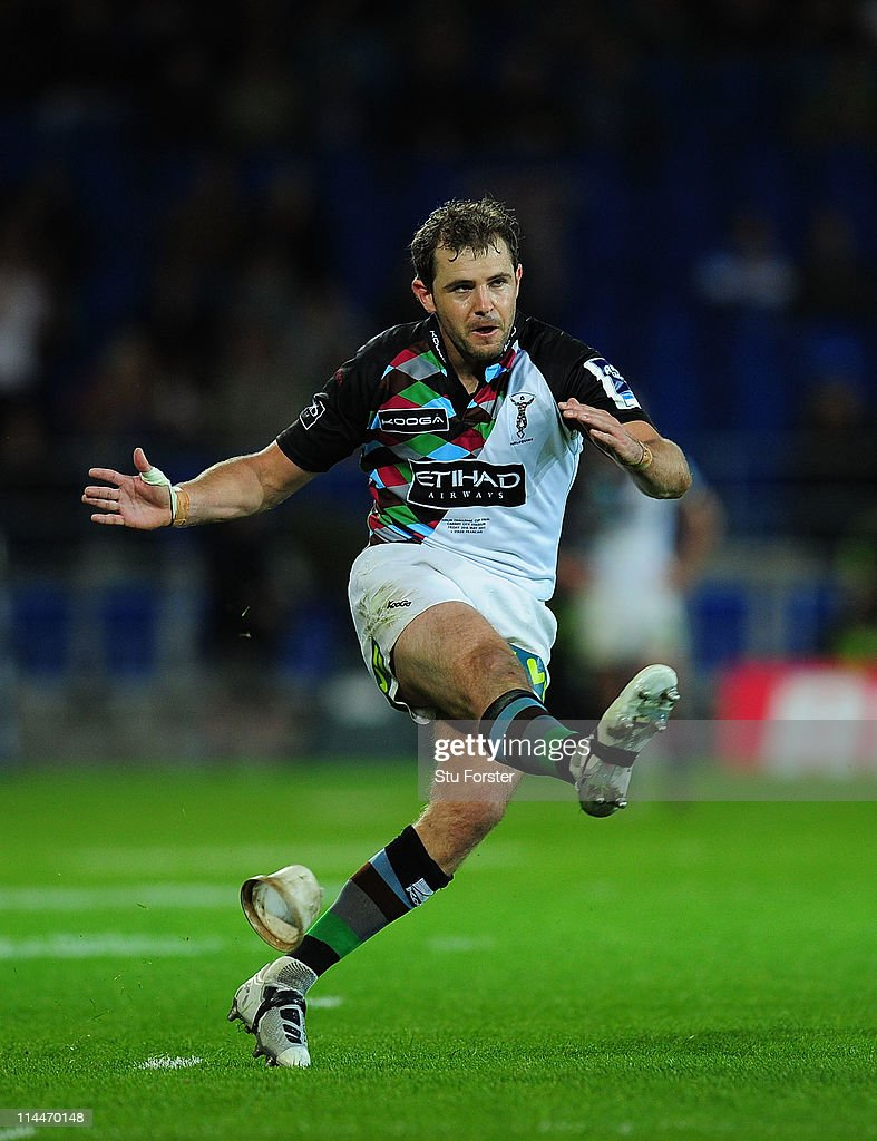Harlequins flyhalf Nick Evans kicks the inning points during the Amlin Cup Final between Harlequins and Stade Francais at Cardiff City Stadium on May...