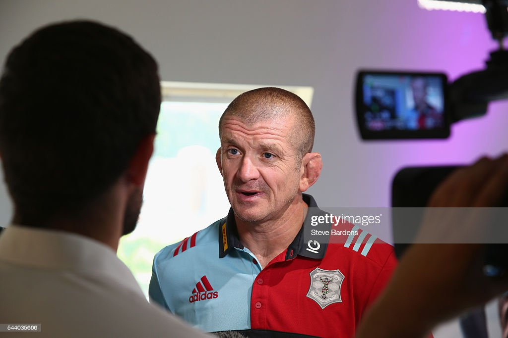 Harlequins Forwards Coach, <a gi-track='captionPersonalityLinkClicked' href=/galleries/search?phrase=Graham+Rowntree&family=editorial&specificpeople=215047 ng-click='$event.stopPropagation()'>Graham Rowntree</a> talks to the media during the Harlequins 150th Season Launch at Hampstead Cricket Club on July 1, 2016 in London, England.