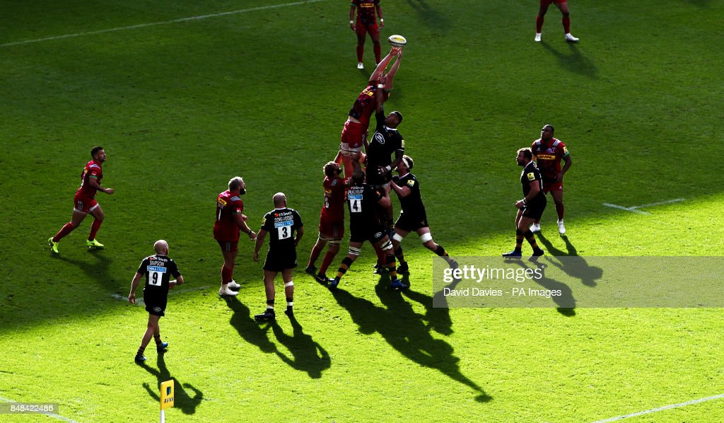 Harlequins George Merrick reaches for a lineout during the Aviva Premiership match at the Ricoh Arena, Coventry.
