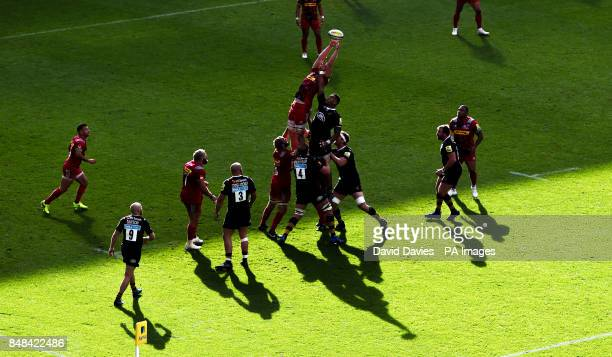 Harlequins George Merrick reaches for a lineout during the Aviva Premiership match at the Ricoh Arena Coventry