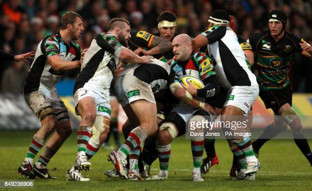 Harlequins George Robson secures the ball during the Aviva Premiership match at Franklins Gardens Northampton