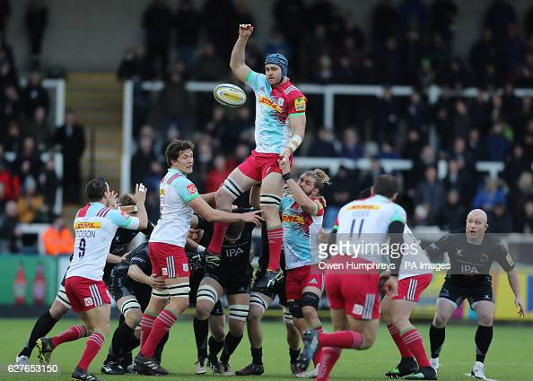 Harlequins James Horwill in the line out during the Aviva Premiership match at Kingston Park Newcastle