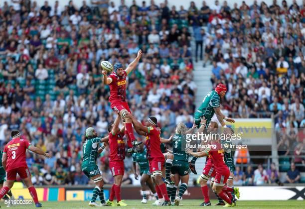 Harlequin's James Horwill wins a lineout during the Aviva Premiership match at Twickenham Stadium London