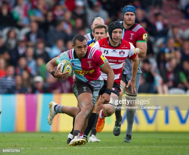 Harlequins' Joe Marchant in action during the Aviva Premiership match between Harlequins and Gloucester Rugby at Twickenham Stoop on September 9 2017...