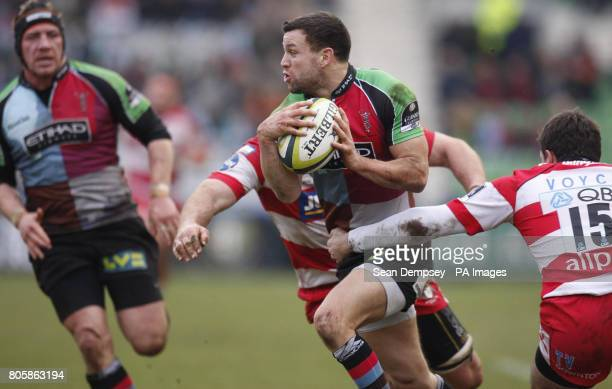 Harlequins' Karl Dickson is tackled during the LV=Cup match at Twickenham Stoop London