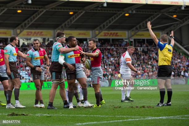 Harlequins' Kyle Sinckler celebrates winning a scrum penalty during the Aviva Premiership match between Harlequins and Leicester Tigers at Twickenham...