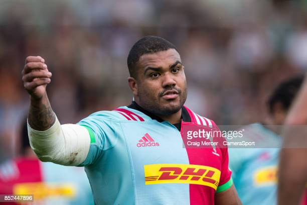 Harlequins' Kyle Sinckler during the Aviva Premiership match between Harlequins and Leicester Tigers at Twickenham Stoop on September 23 2017 in...