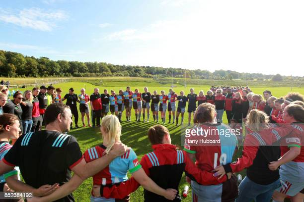Harlequins Ladies CoHead Coach Gary Street talks to the team after the Tyrrells Premier 15s match between Harlequins Ladies and Firwood Waterloo...