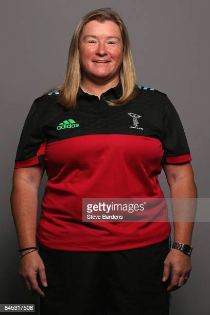 Harlequins Ladies CoHead Coach Karen Findlay poses for a portrait during the Harlequins Ladies Squad Photo call for the 2017/18 Tyrrells Premier 15s...