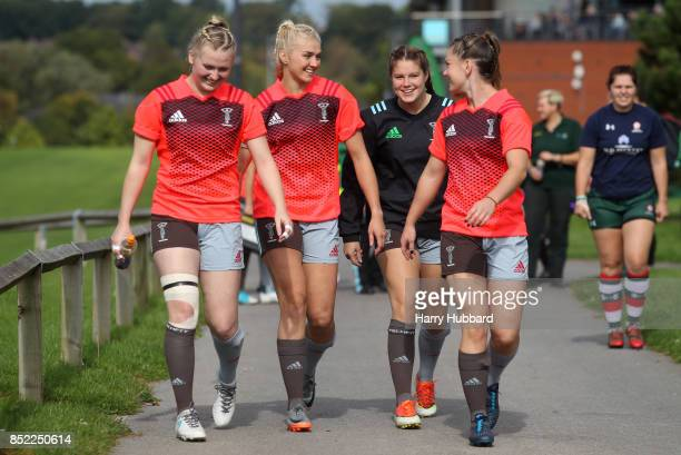 Harlequins Ladies make their way to the pitch to warm up before the Tyrrells Premier 15s match between Harlequins Ladies and Firwood Waterloo Ladies...