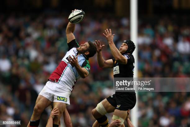 Harlequins' Nick Easter wins the ball ahead of London Wasp's Dan WardSmith as they rise high in the line out