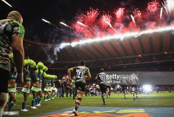 Harlequins players run out during the Aviva Premiership match between Harlequins and Saracens at Twickenham Stadium on December 27 2011 in London...