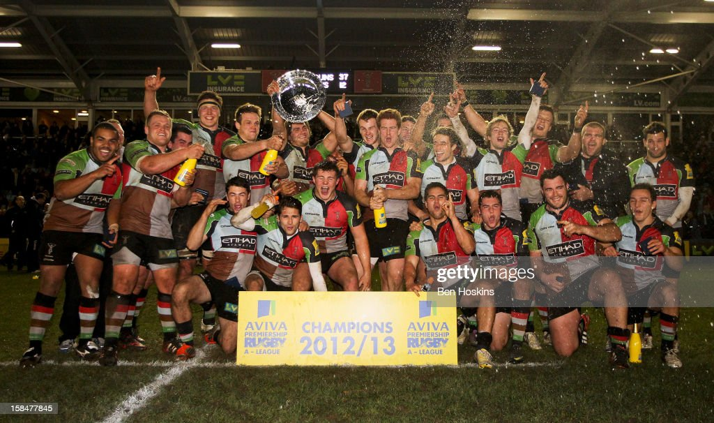 Harlequins team celebrate after winning the Aviva 'A' league match between Harlequins and Saracens Storm at the Twickenham Stoop on December 17, 2012 in London, England.