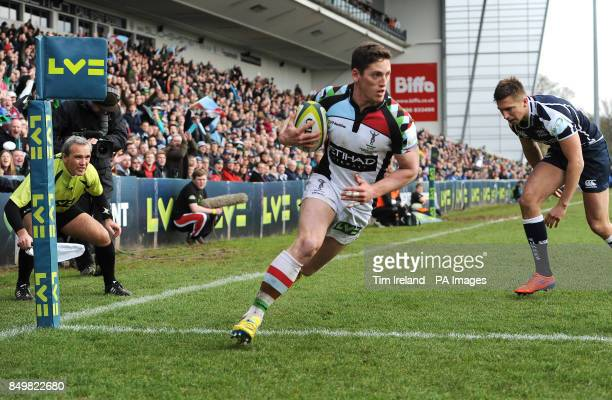 Harlequins' Tom Williams scores a try during the LV=Cup Final at Sixways Stadium Worcester