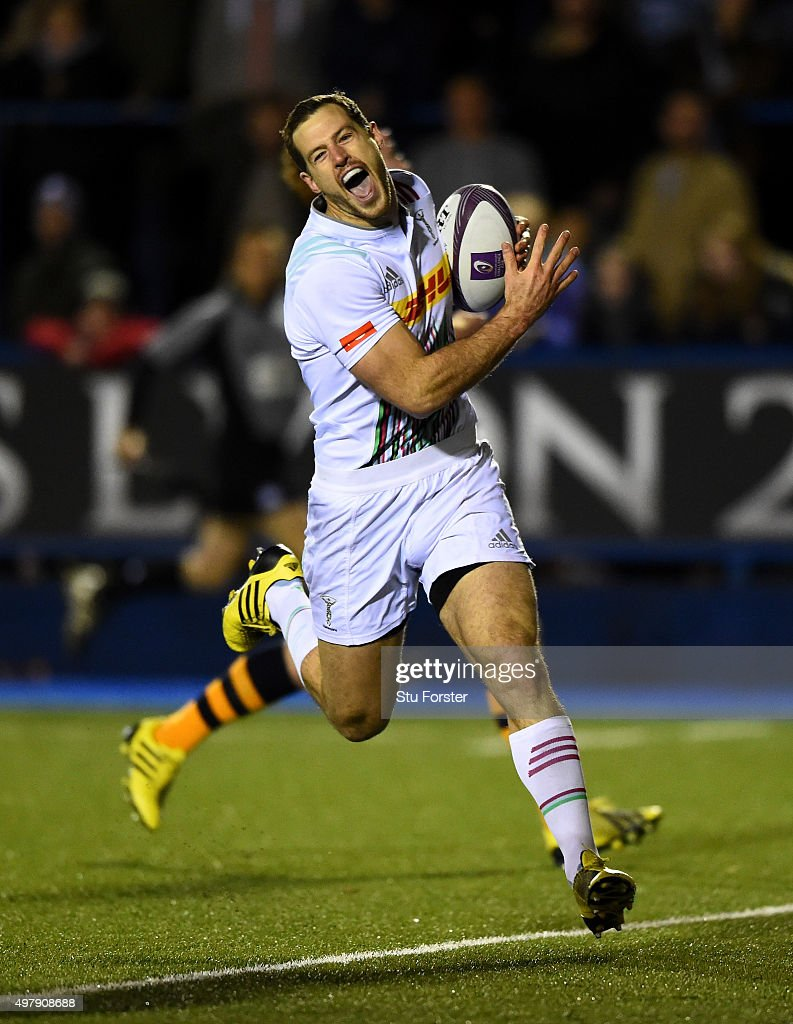 Harlequins wing Tim Visser races through to score during the European Rugby Challenge Cup match between Cardiff Blues and Harlequins at Cardiff Arms...